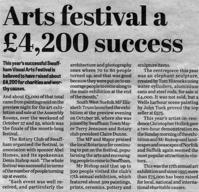 "Press Cutting entitled ""Arts festival a £4,200 success"""
